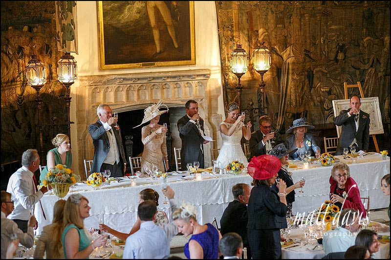 Wedding speech toast in the great hall at Berkeley Castle