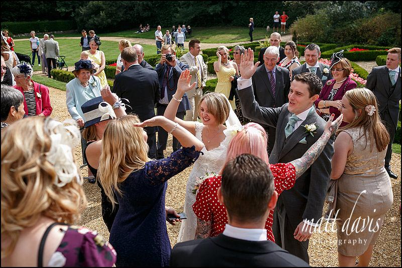 wedding guests at Highcliffe castle, Christchurch
