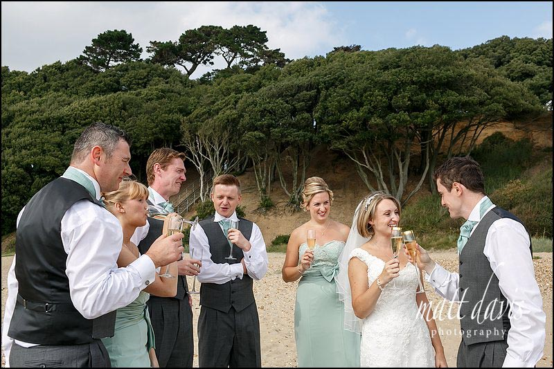 wedding photos on the beach at Highcliffe castle, Christchurch