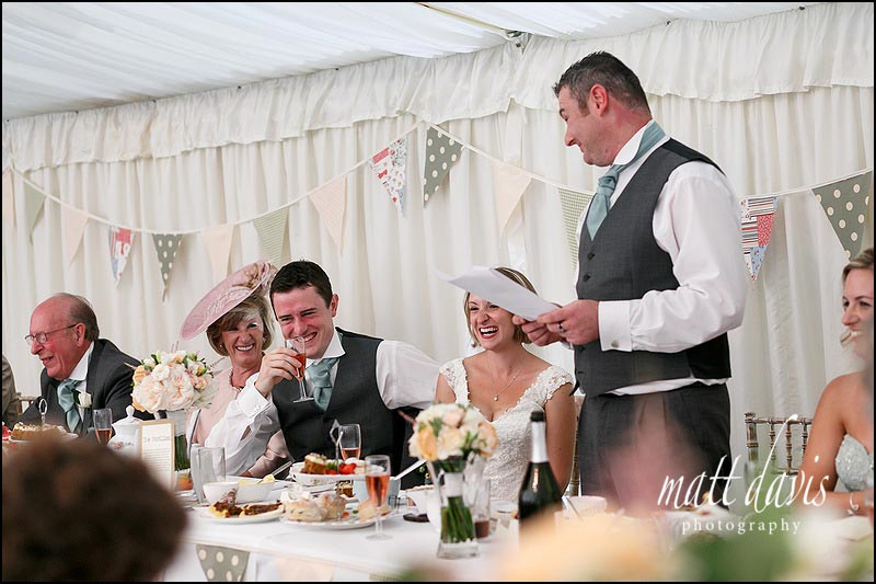 Speeches in the marquee at The Old Vicarage
