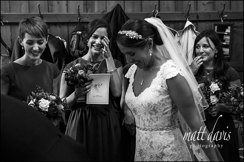 Black and white documentary wedding photography in the Cotswolds