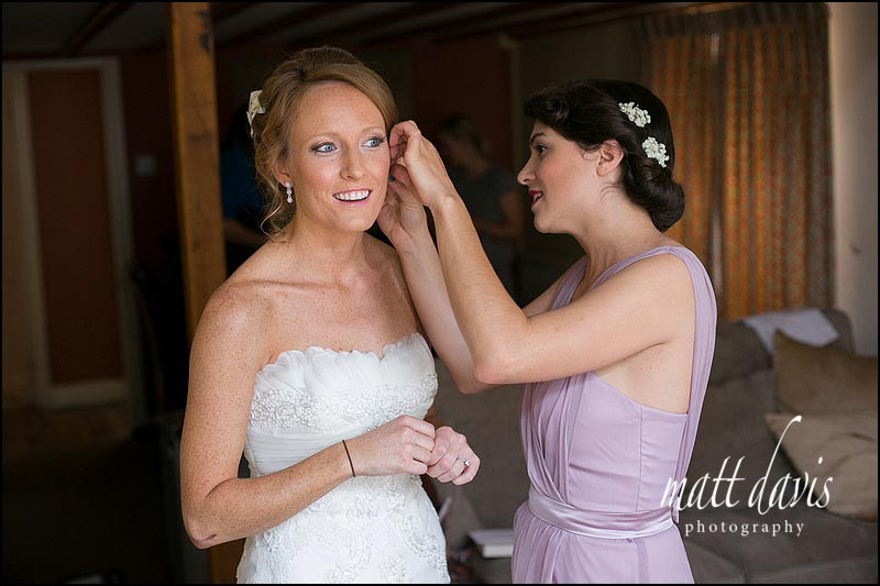 Bridal preparations during a Sudeley Castle wedding