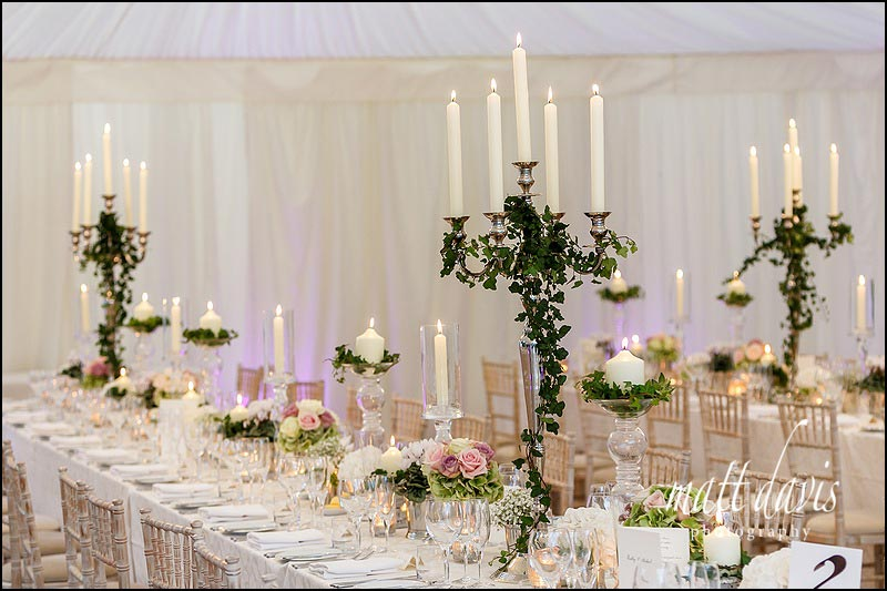 Sudeley Castle wedding marquee with candle arbors