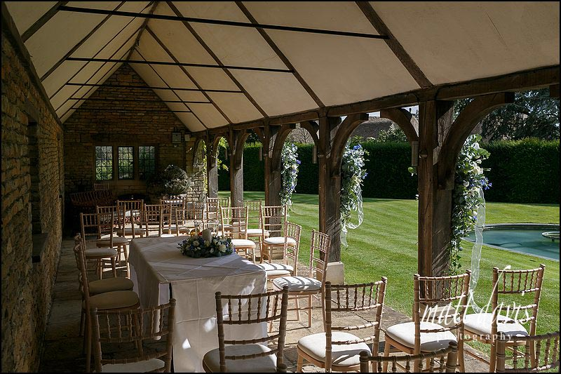 Small outdoor wedding ceremony at Whatley Manor, Wiltshire
