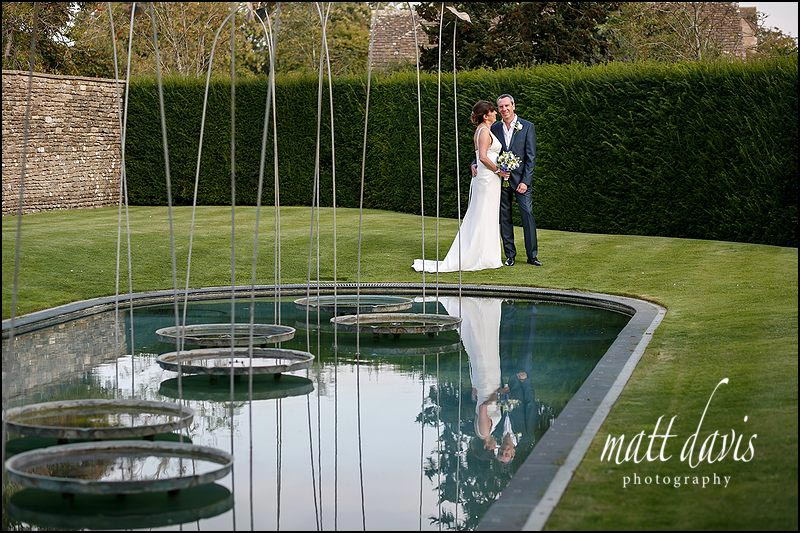 Whatley Manor wedding photos by the feature sculpture
