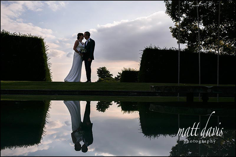 Whatley Manor wedding photos by the water feature