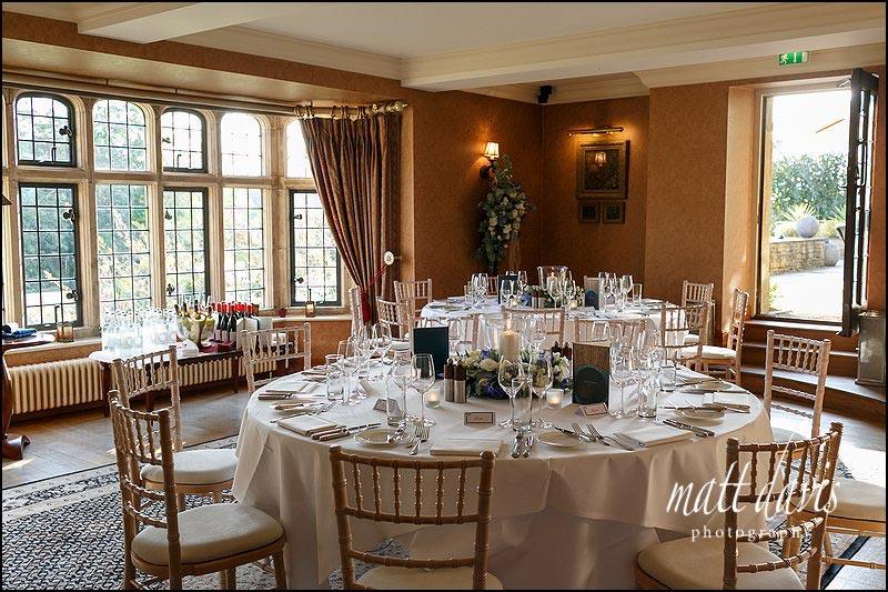 Whatley Manor wedding breakfast room