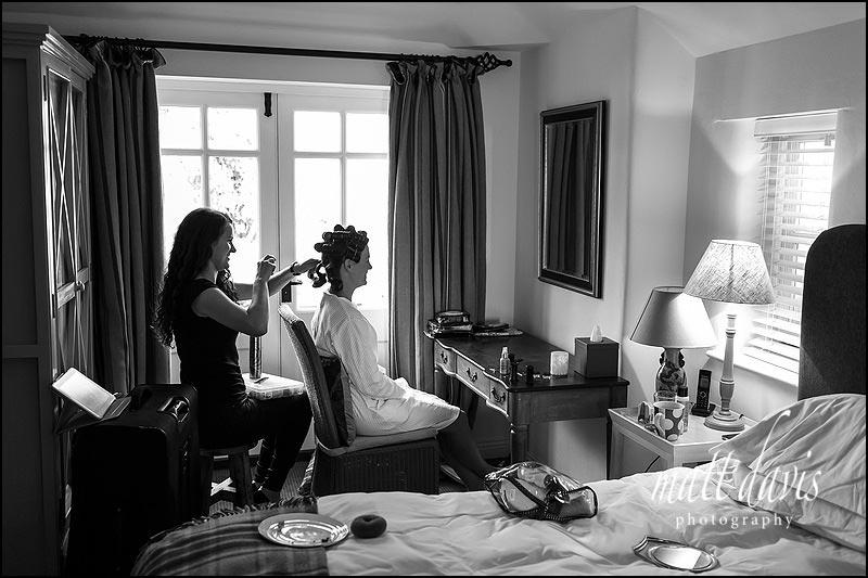 Bridal preparation photos taken before leaving for Cripps Stone Barn
