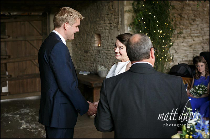 wedding photography during the ceremony at Cripps Stone Barn