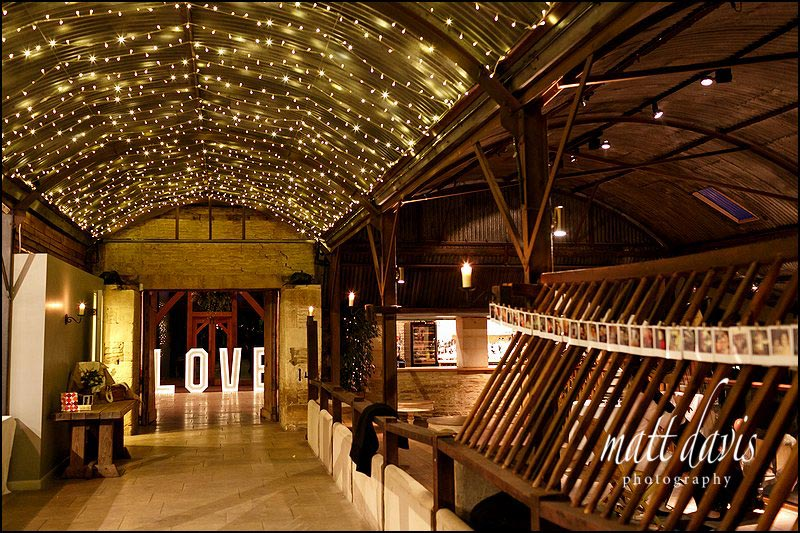 Inside Cripps Stone Barn with sparkly lights