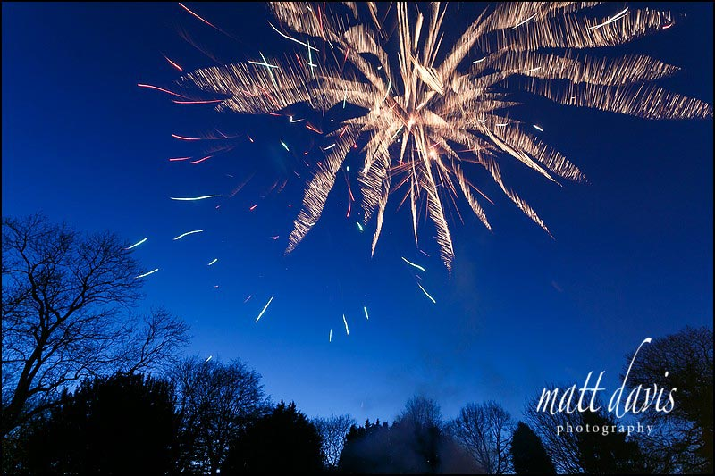 wedding fireworks at Clearwell Castle