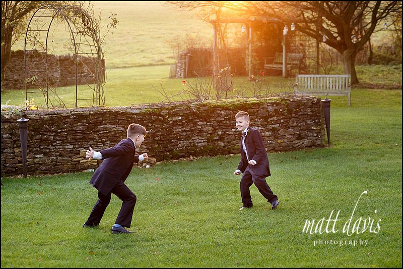 Kids playing at Cripps Barn wedding