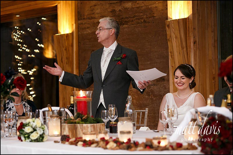 Father of the brides wedding speech at Elmore Court wedding, Gloucestershire
