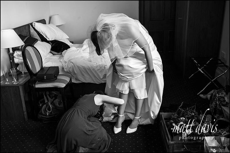 Black and white documentary wedding photography Eynsham Hall