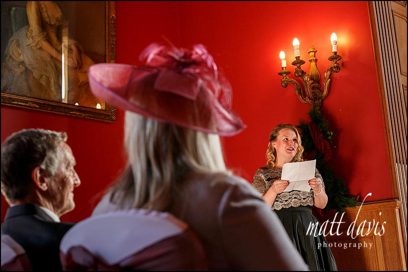 wedding readings at Eynsham Hall during the wedding ceremony