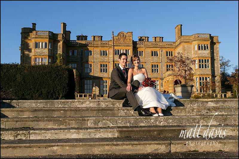 classic wedding photos outside in winter at Eynsham Hall