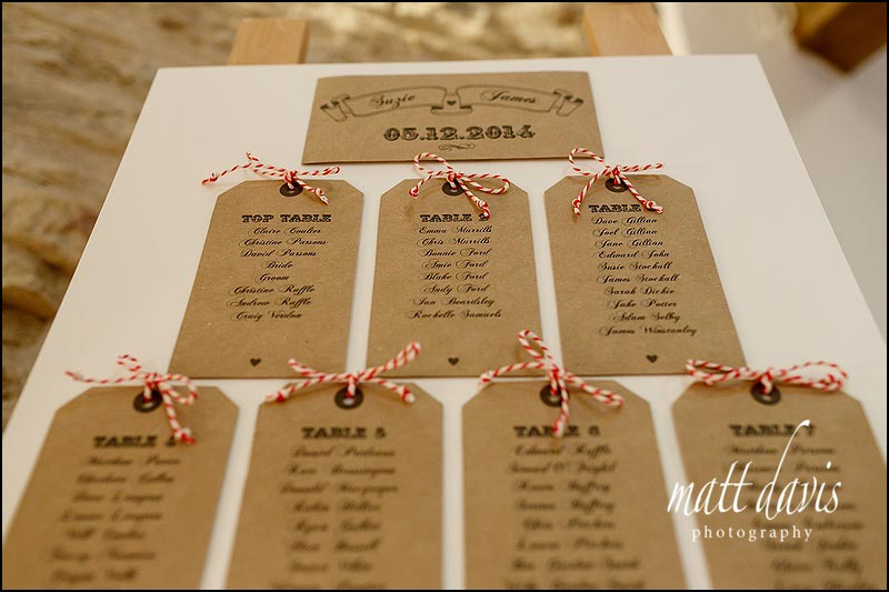 Luggage labels for wedding table plan, tied with candy cane style string