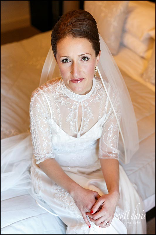 Real bride wearing Jenny Packham wedding dress on her wedding day at Kingscote Barn
