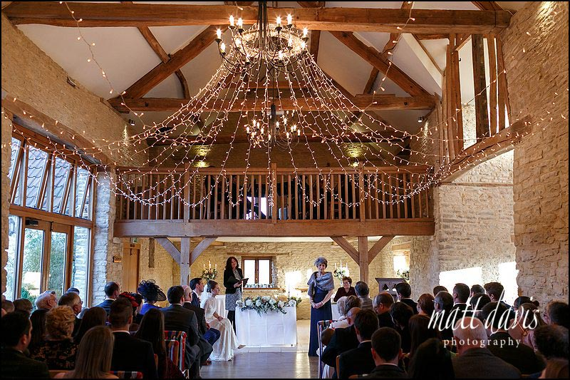 Fairy light canopy in Kingscote Barn