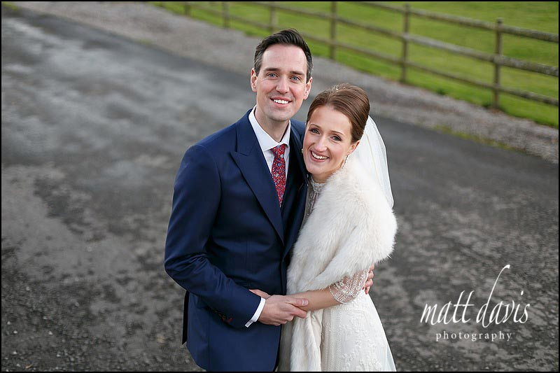 Kingscote barn wedding photos in winter