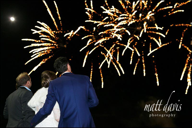 Kingscote Barn winter wedding with fireworks
