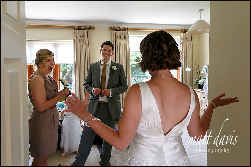 Natural reactions captured on a wedding day in Gloucestershire