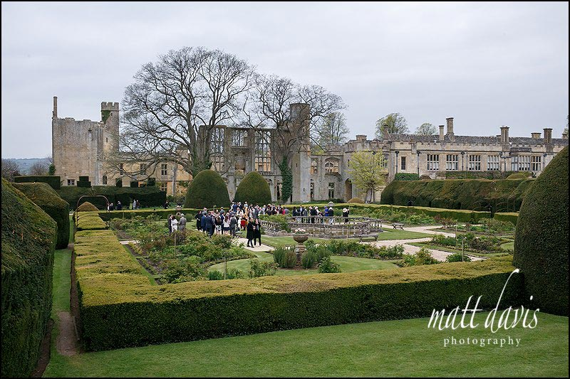 Wedding drinks reception at Sudeley Castle in the rose garden.