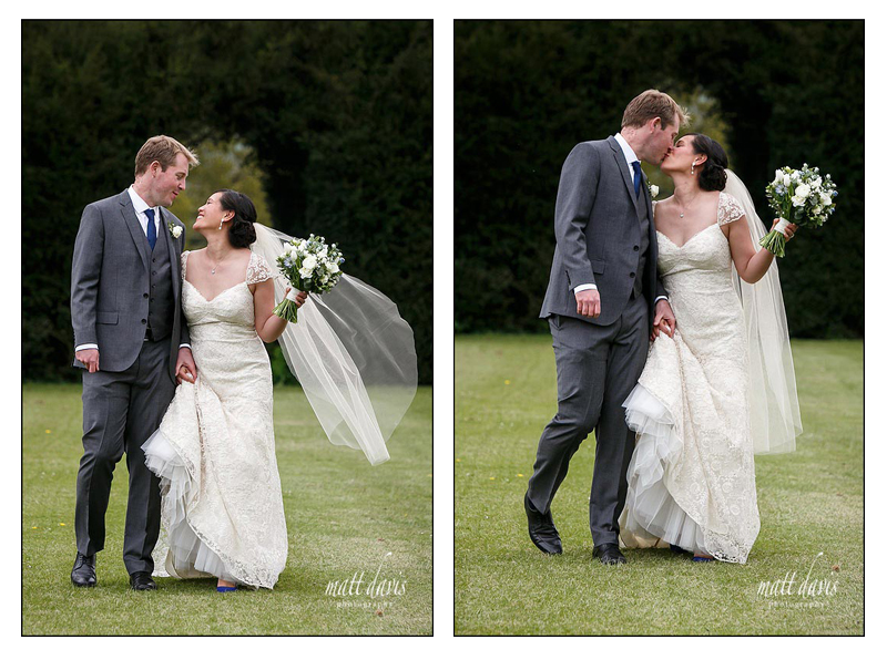 Relaxed couple wedding photos at Sudeley Castle
