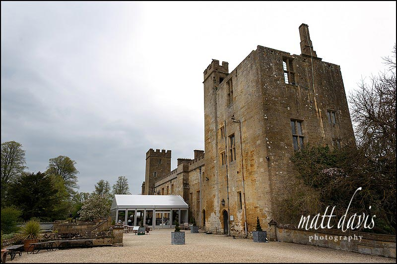 Wedding breakfast held in the marquee attached to Sudeley Castle