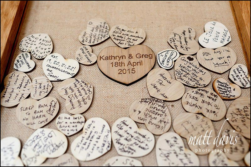 heart shaped wedding details used for a memory board / picture