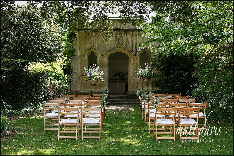 Chairs set up for a Garden wedding at Barnsley House