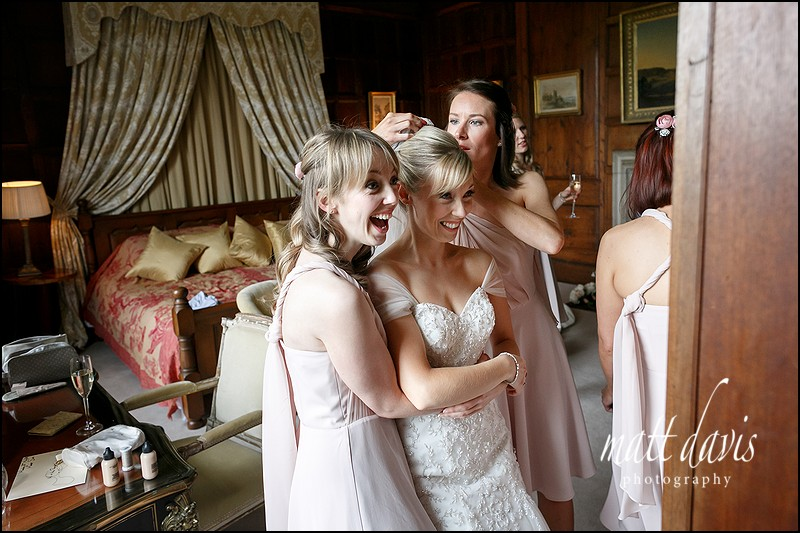 Fun bridal preparation wedding photography at Elmore Court