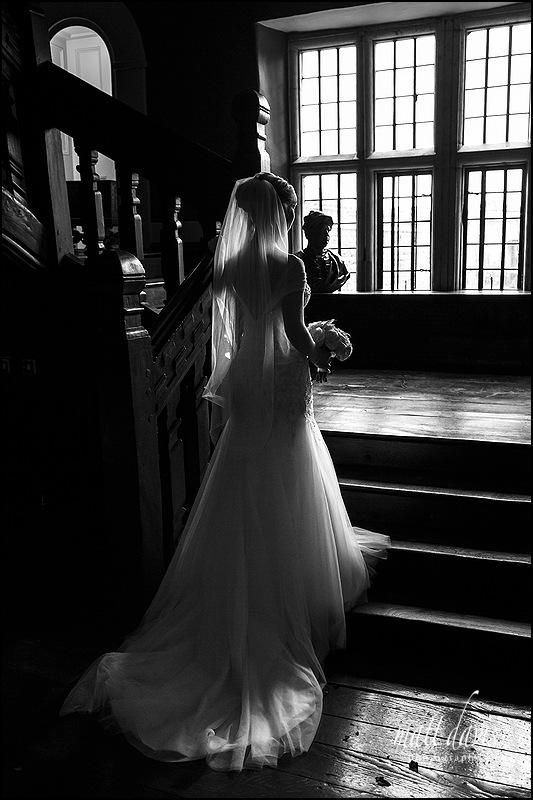 Stunning black and white bridal portrait taken at Elmore Court