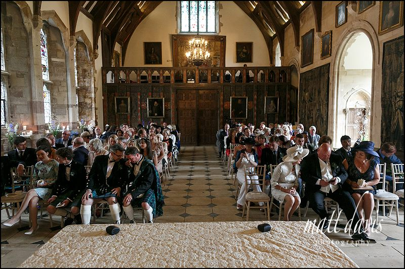 Berkeley Castle wedding civil ceremony in the great hall