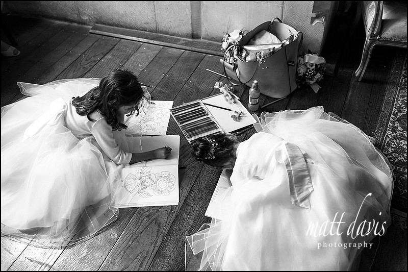 bridesmaids colouring during a wedding reception