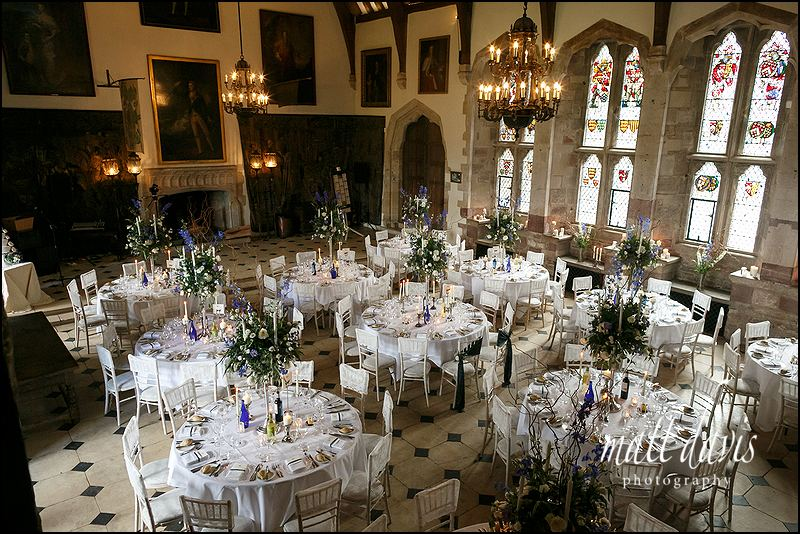The great hall at Berkeley Castle laid out for the wedding breakfast