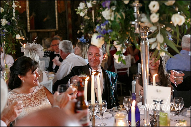 Berkeley Castle wedding meal held in the Great Hall