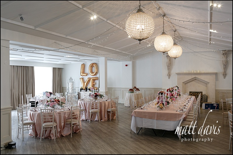 Wedding reception room at Manor By The Lake, Cheltenham
