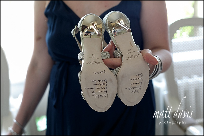 Writing on the bottom of wedding shoes
