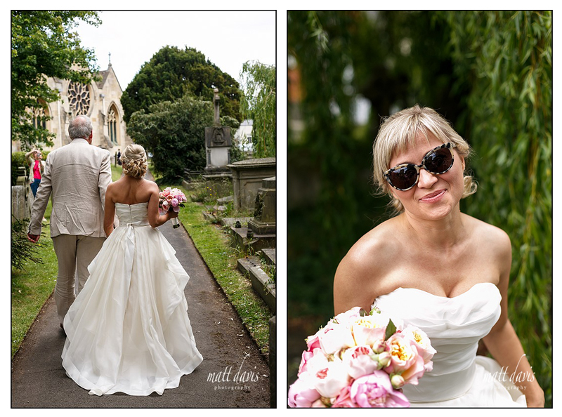 Bride wearing Ray Ban sunglasses on wedding day