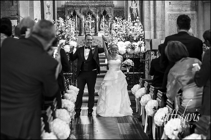 Black and white wedding photography at St Mary's Church Charlton Kings, Cheltenham