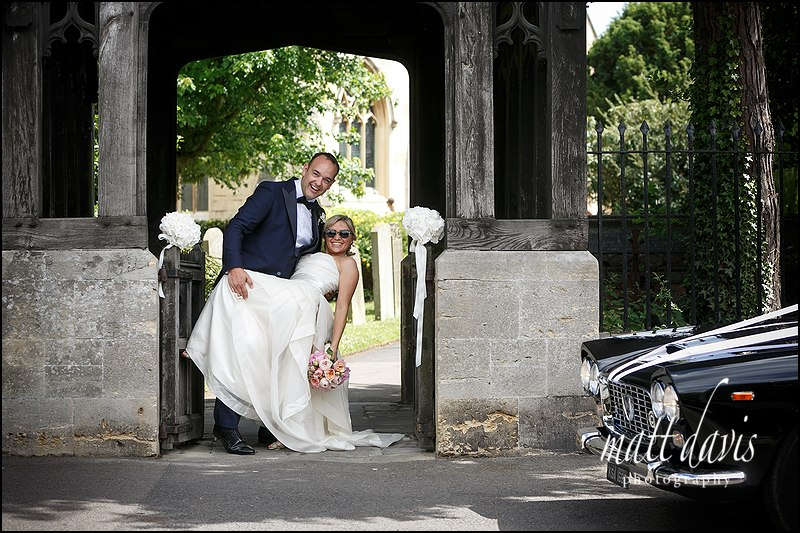 Fun wedding photos at St Mary's Church Charlton Kings