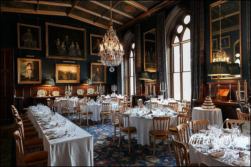 Eastnor Castle wedding breakfast room.
