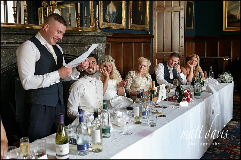 Emotional wedding speeches at Eastnor Castle Gloucestershire