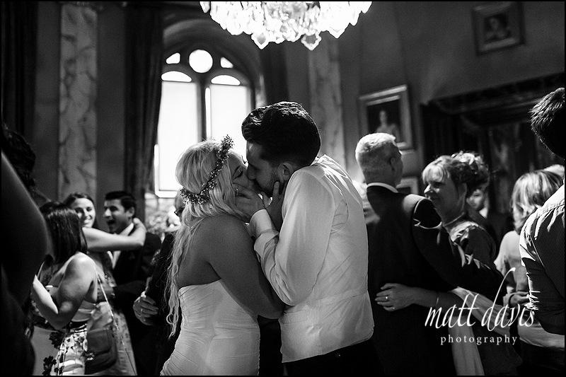Bride and groom in love on the Dance floor at Eastnor Castle Wedding