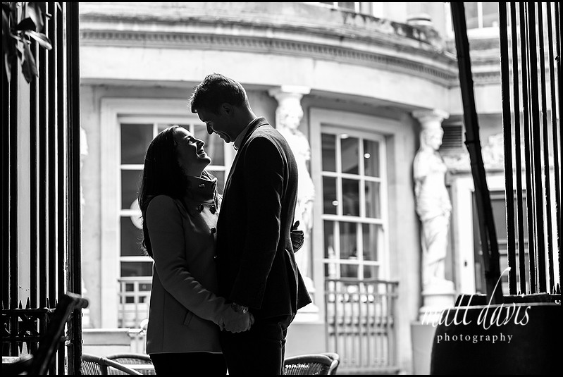 lack and white couple portraits taken in Cheltenham, Gloucestershire by Matt Davis Photography