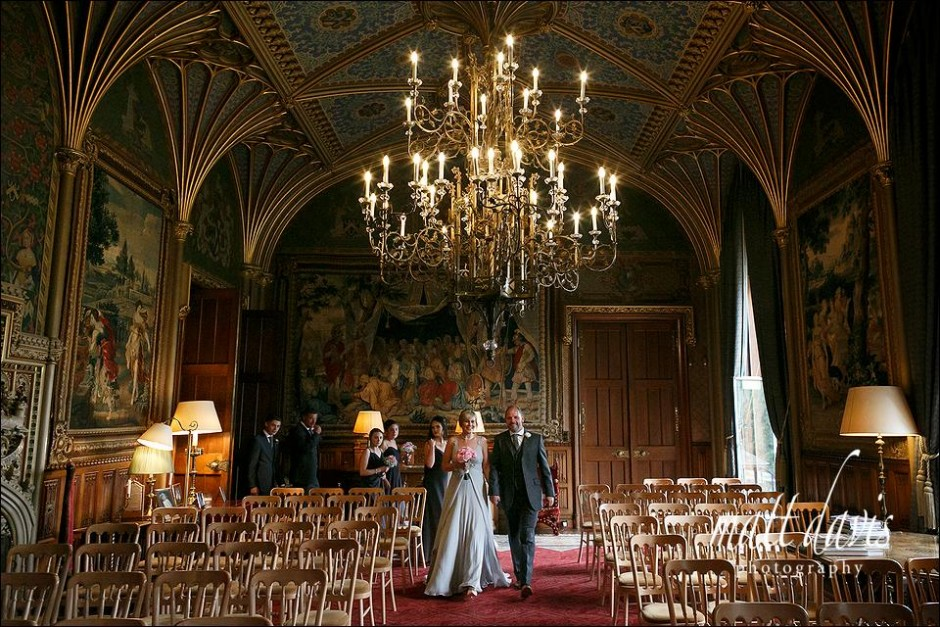 Eastnor Castle wedding photography - Mark & Alison entering the ceremony