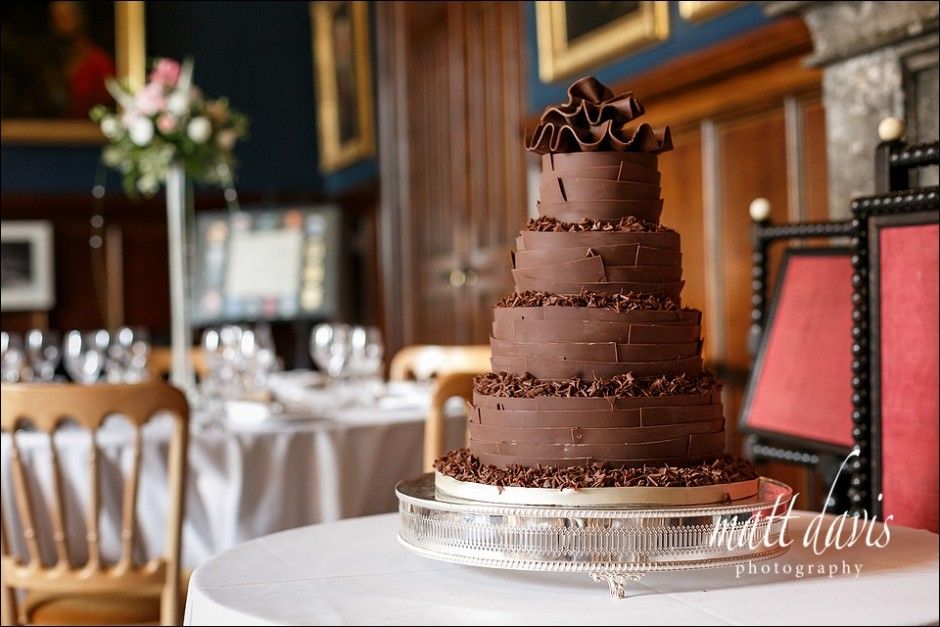 Chocolate wedding cake at Eastnor Castle wedding