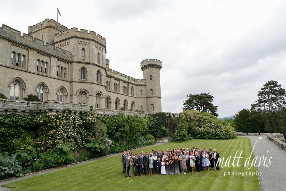 Large group wedding photo taken at Eastnor Castle