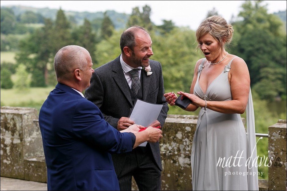 Reactions to magician on a wedding day at Eastnor Castle